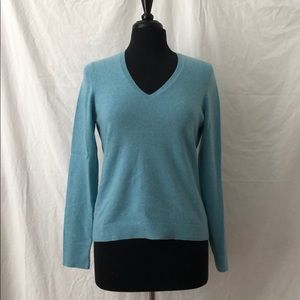 Blue V-neck Cashmere Sweater, Ann Taylor, Size M